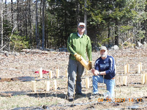 SWOAM guys – Executive Director Tom Doak and Deputy Exec Director Bill Williams – planting chestnuts in the Winthrop seed orchard, May 2013
