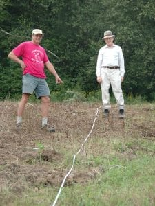 John Baker (left) and Tom Traver of the Litchfield Hills Audubon during a site layout exercise